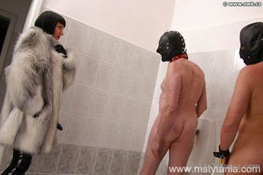 mistress tytania rubber owk strapon pegging london fur coat fetish